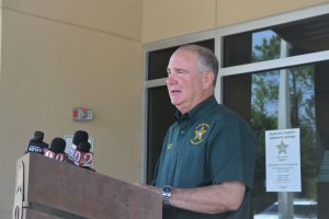 Sheriff Rick Staly announcing the arrest this morning. Click on the image for larger view. (© FlaglerLive)