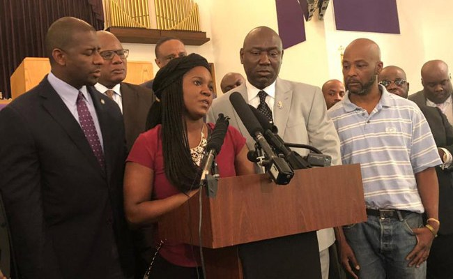 Britany Jacobs, McGlockton's live-in partner and the mother of his three children, told reporters and supporters gathered Wednesday morning at Bethel Missionary Baptist Church in Tallahassee.