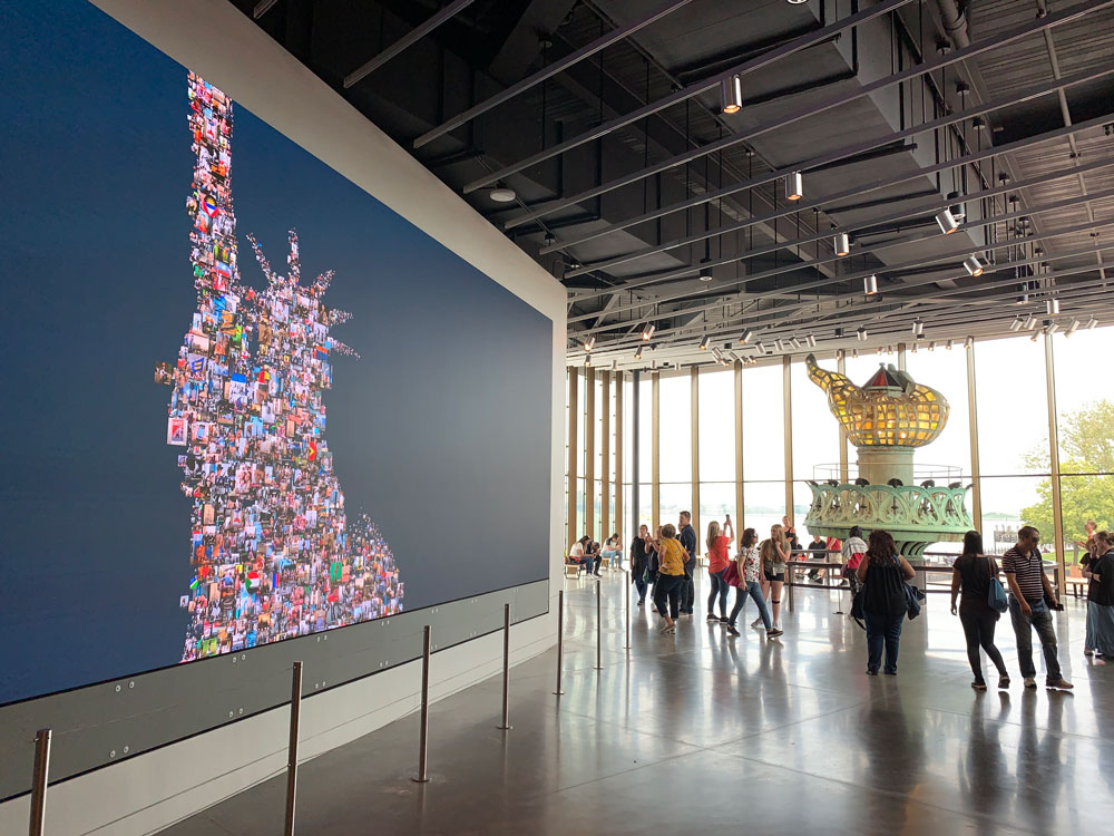 At the Statue of Liberty Museum on Liberty Island in New York, where immigrants and visitors form a mosaic of pluralism. (© FlaglerLive)
