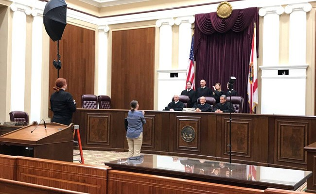 A February photo shoot at the Supreme Court, updating the court's new make-up. (Florida Supreme Court)