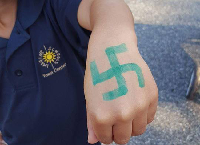 The swastika drawn on the hand of Letty Comin's grandson, a kindergartener at Imagine School at Town Center in palm Coast. (Mercedes Owens)