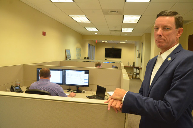 Flagler County Clerk of Court Tom Bexley in the IT department at the courthouse last week. (© FlaglerLive)