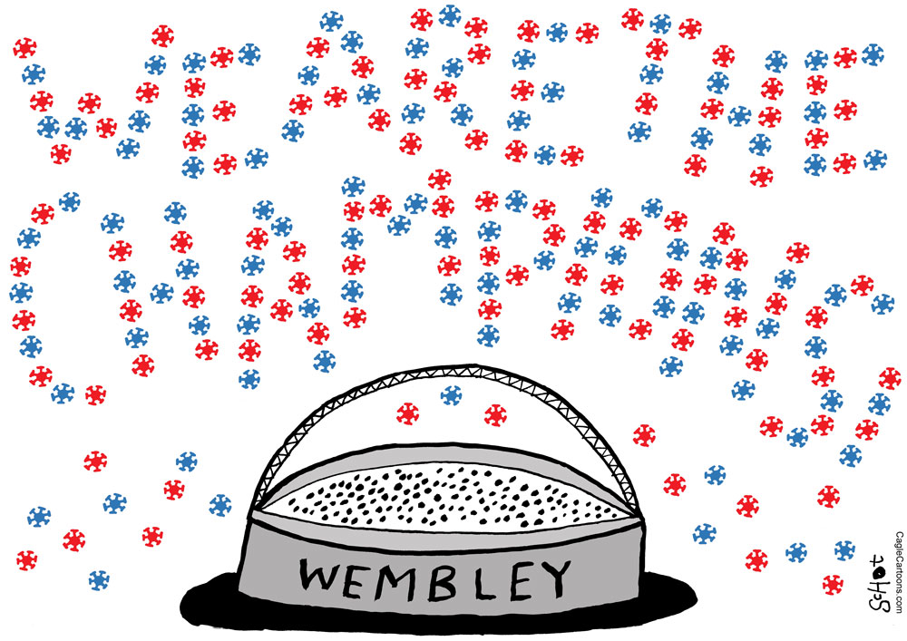 The final of Euro 2020 is at 3 p.m. Palm Coast Time, from Wembley Stadium in London, between England and Italy. Schot, De Volkskrant, Netherlands.