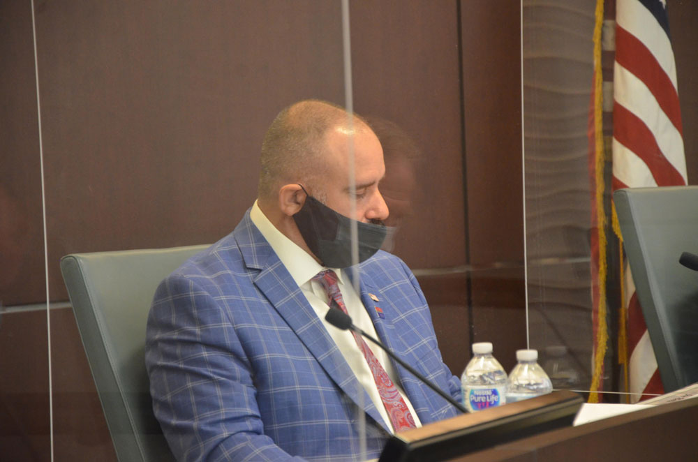 Victor Barbosa, the Palm Coast council member, got no second when he attempted to fire City Manager Matt Morton this evening. (© FlaglerLive)