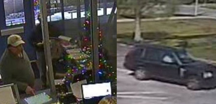 Stills from surveillance video of the unidentified man at Wadsworth Elementary this morning, and of his vehicle.