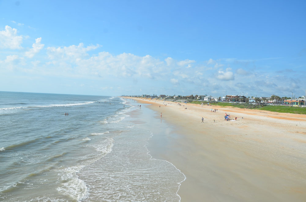 The waters off South 26th Street in Flagler Beach were the scene of a double-rescue this afternoon. (© FlaglerLive)