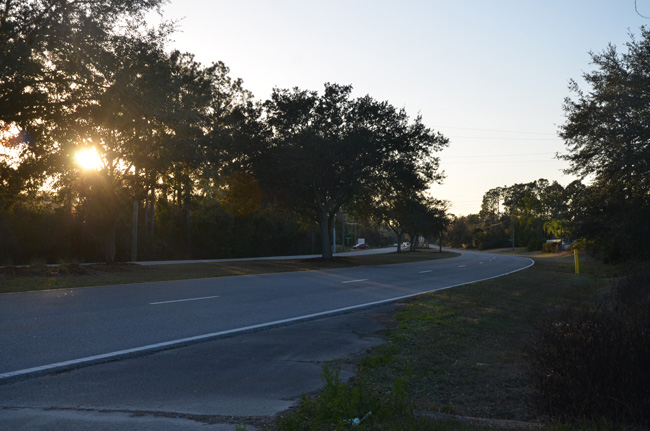 The sun may be setting on Whiteview Parkway's four lanes. (c FlaglerLive)