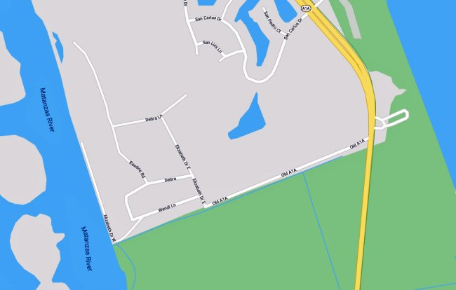 The Willow Woods subdivision branches off A1A, by way of Old A1A, at the northeast end of Flagler County.