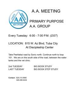 Primary Purpose Tuba City Meeting Flyer