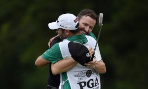 Jimmy Walker and Andy Sanders celebrate their major accomplishment