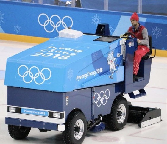 Ice Technician Adam Stirn drives a Zamboni on the ice hockey rink at the PyeongChang 2018 Olympics. Adam is this week's guest on Keep the Flame Alive.