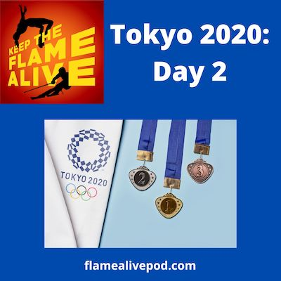 Keep the Flame Alive Tokyo 2020: Day 2. Picture of Tokyo 2020 logo and 3 medals.