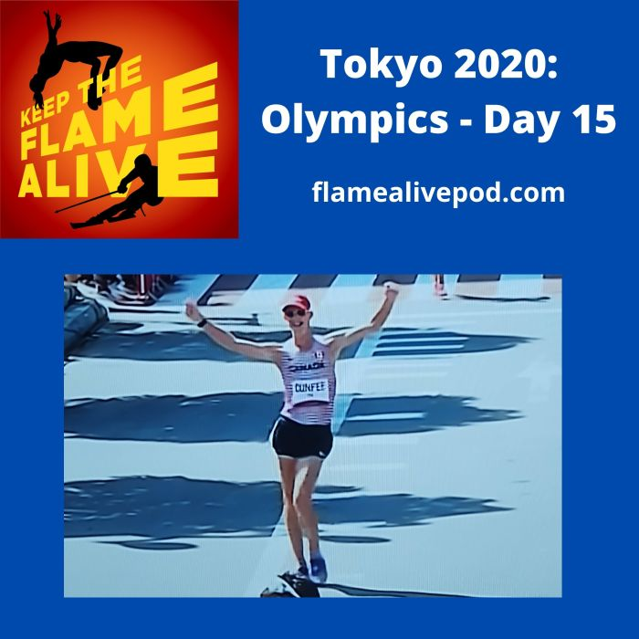 Keep the Flame Alive logo; Tokyo 2020: Olympics - Day 15 - flamealivepod.com - picture of Canadian and TKFLASTANI race walker Evan Dunfee crossing the finish line at the men's 50K race walk.
