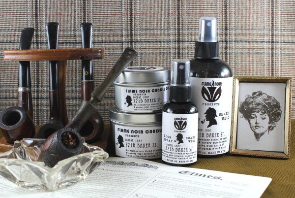 221B Baker St. - Sherlock Holmes inspired all natural soy wax candle + room spray set - Flame Noir Candle Co