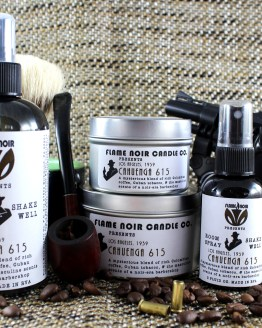 Cahuenga 615 - Handmade soy wax candle + room spray set - Inspired by Philip Marlowe - Flame Noir Candle Co