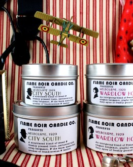 Flying High - City South + Wardlow House - DI Jack Robinson + Phryne Fisher inspired set of 2 all natural soy wax candles - Flame Noir Candle Co