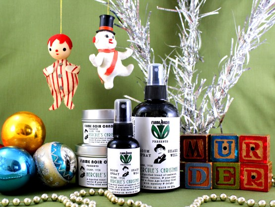 Hercule's Christmas - Hercule Poirot inspired handmade soy wax candle + room spray set - Flame Noir Candle Co