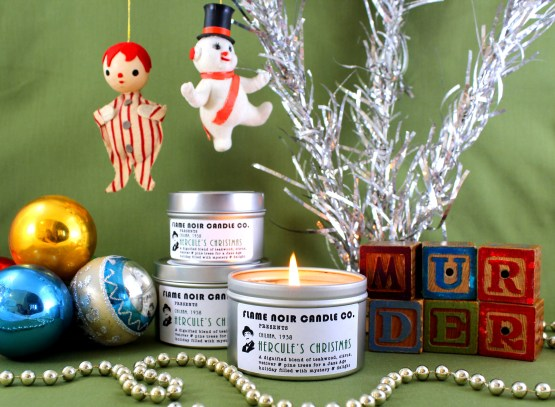 Hercule's Christmas - Hercule Poirot inspired all natural soy wax candle - Flame Noir Candle Co
