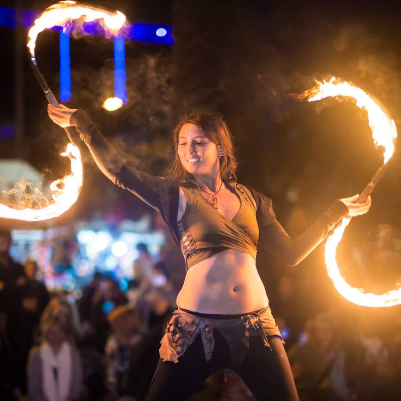 Ottawa Fire Performer Kaylie Kreatrix Flamewater Circus Fire Buugeng