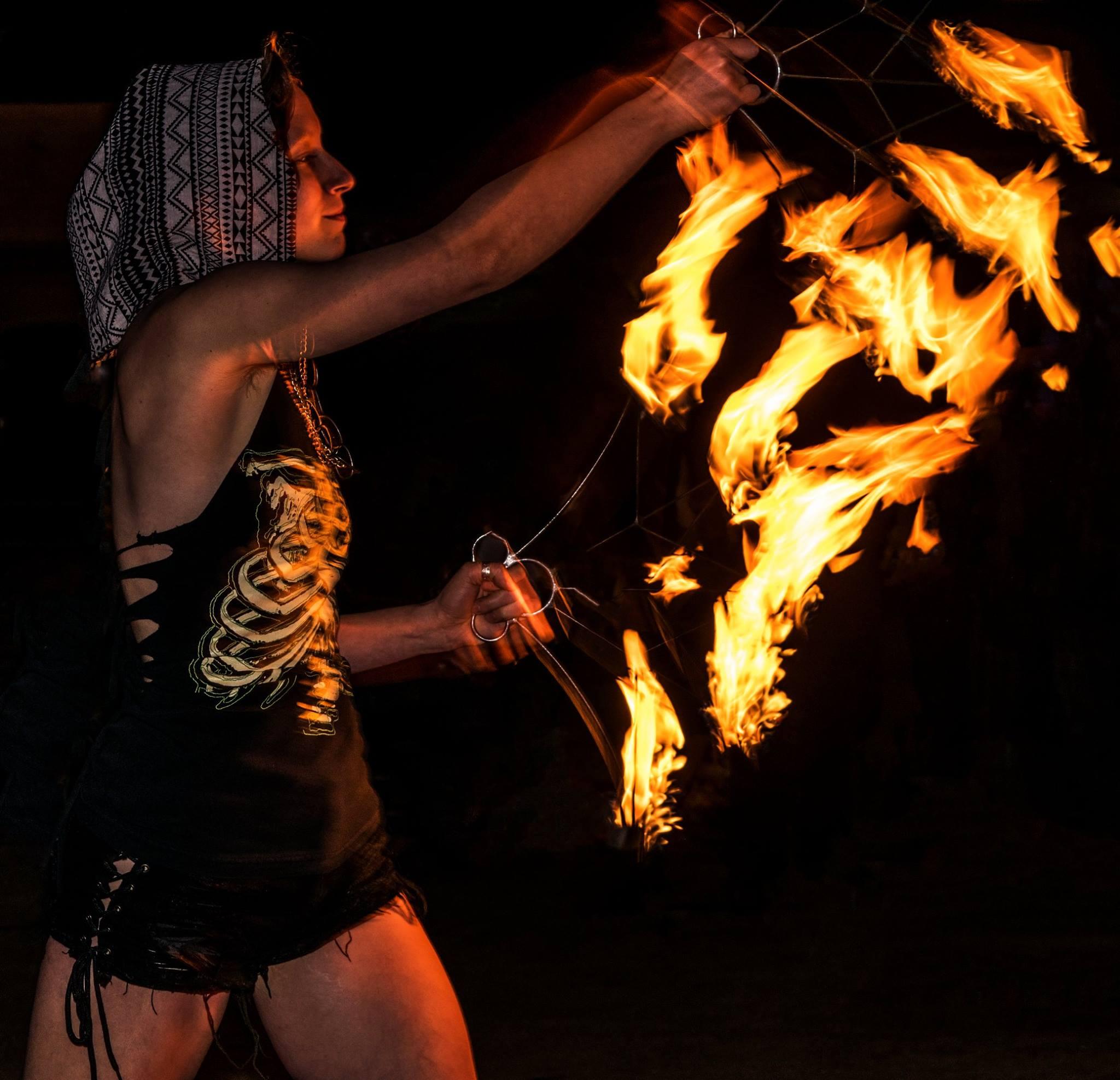 St Petersburg Fire Performer Rose Flamewater Circus