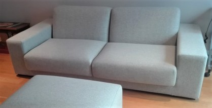 re-covered sofa in Moon wool