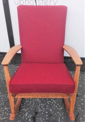re-upholstered rocking chair in Moon wool