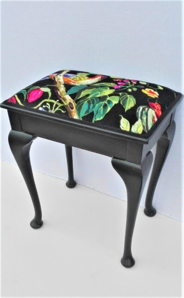re-upholstered piano stool with velvet