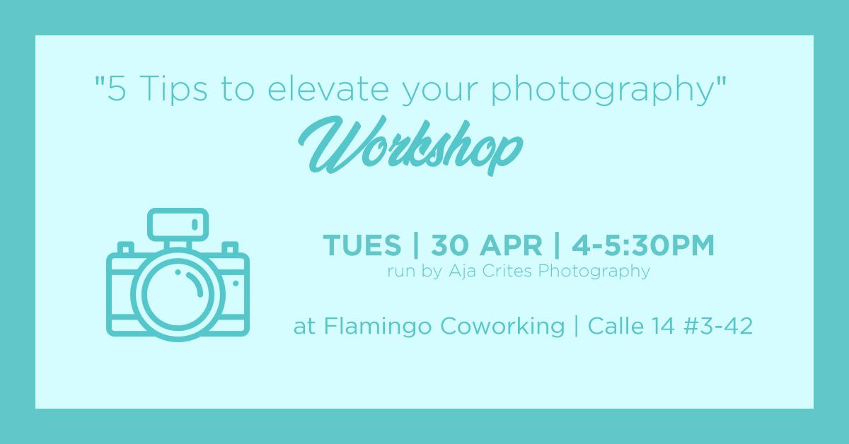 Workshop Photography in Flamingo Coworking Santa Marta Colombia