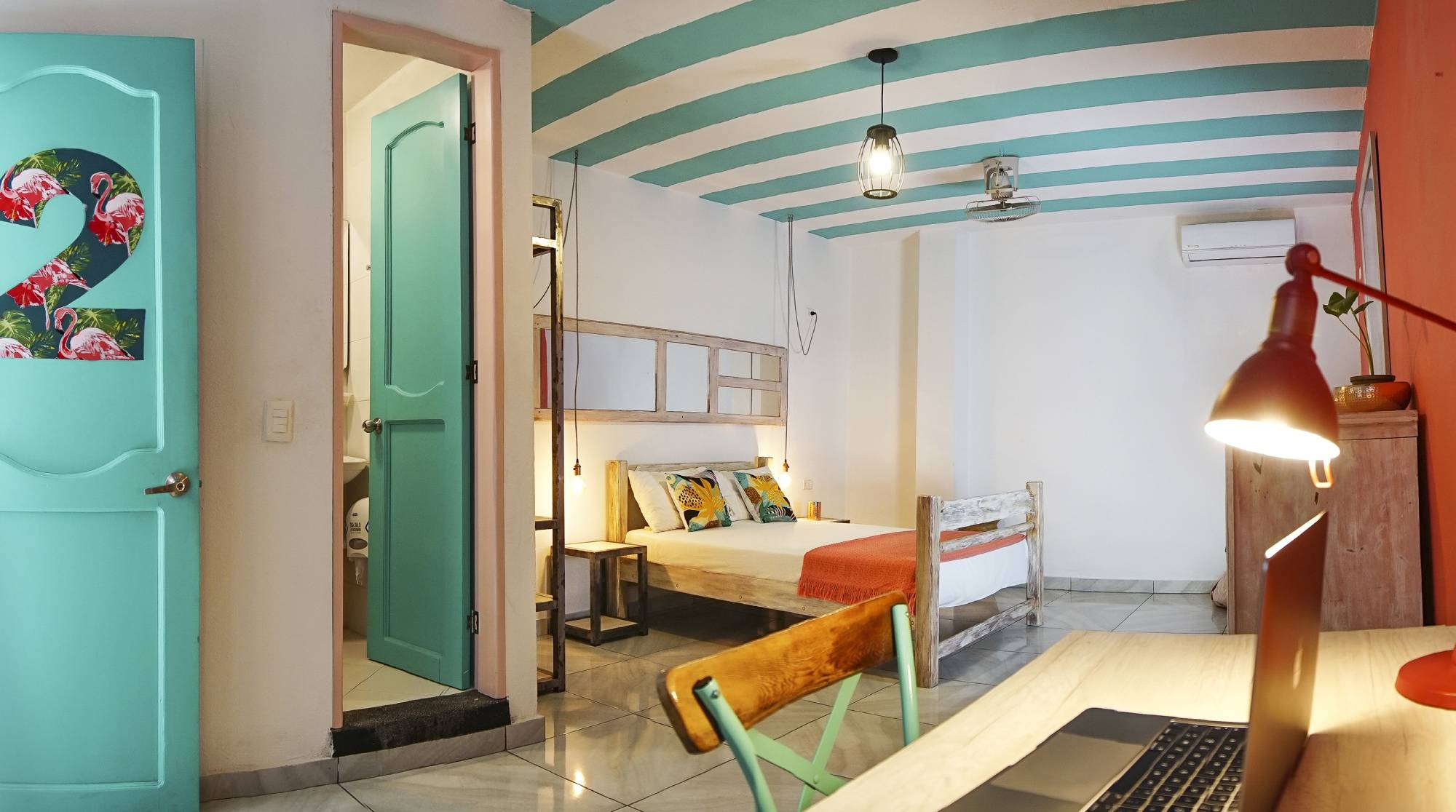 Double Room in Flamingo Coworking & Hostel in Santa Marta Colombia