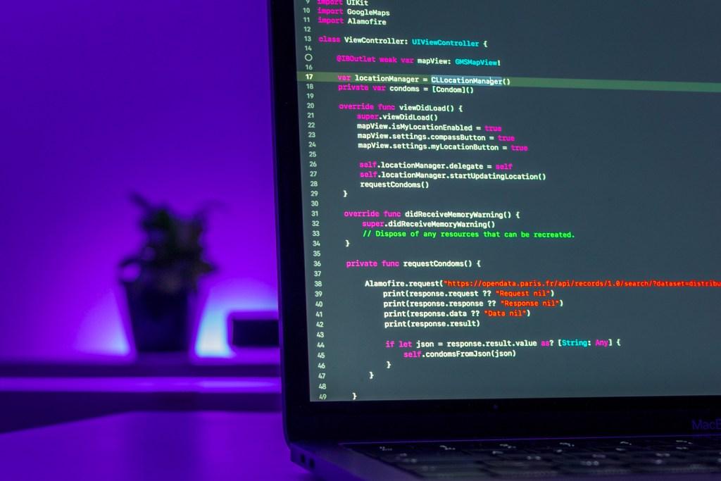 Web Developer code on Macbook air.