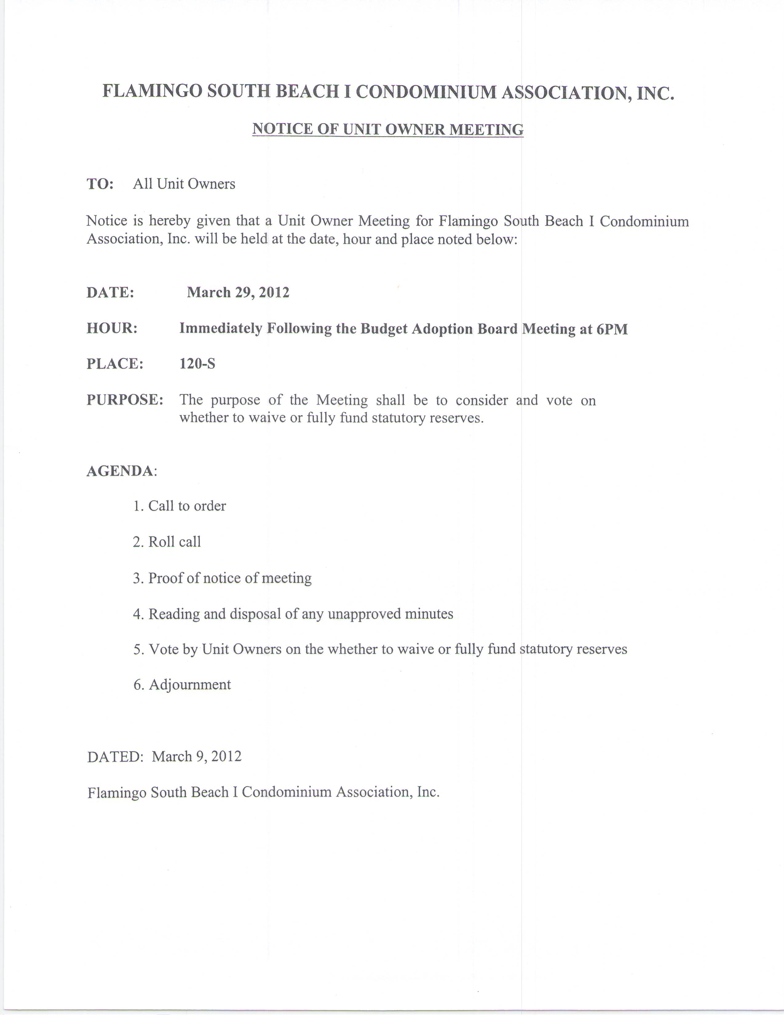 Proposed Budget Reserves 3 29 12 Bod Amp Owners