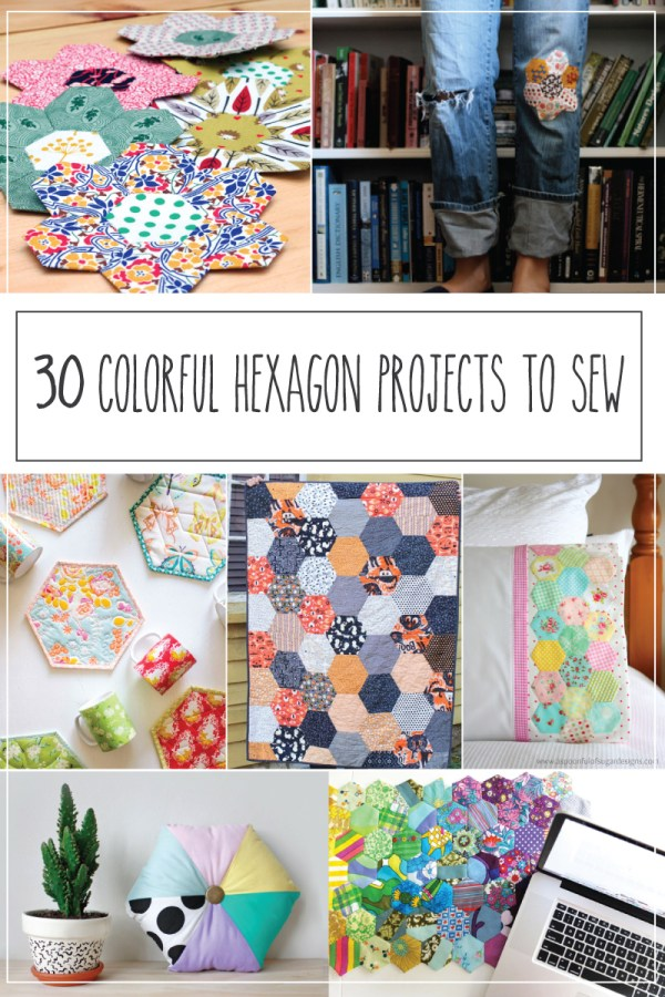 30 Colorful Hexagon Projects to Sew featured by top US sewing blog, Flamingo Toes.