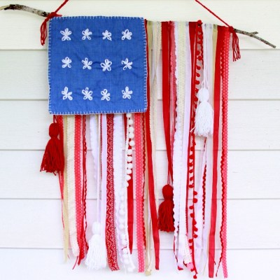 Rustic Ribbon and Lace USA Flag