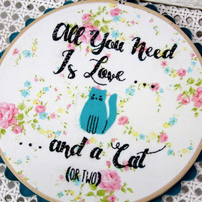 All You Need Is Love – Cat Embroidery