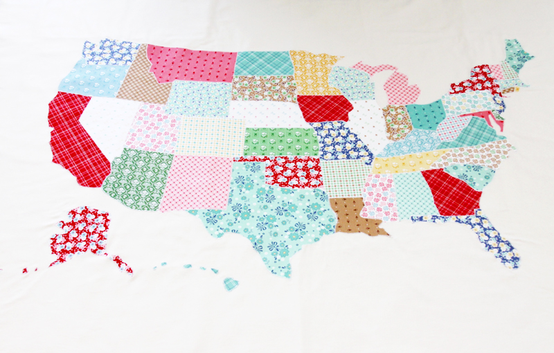 US Map Quilt Tutorial featured by top US quilting blog, Flamingo Toes: Appliqued US Map Quilt