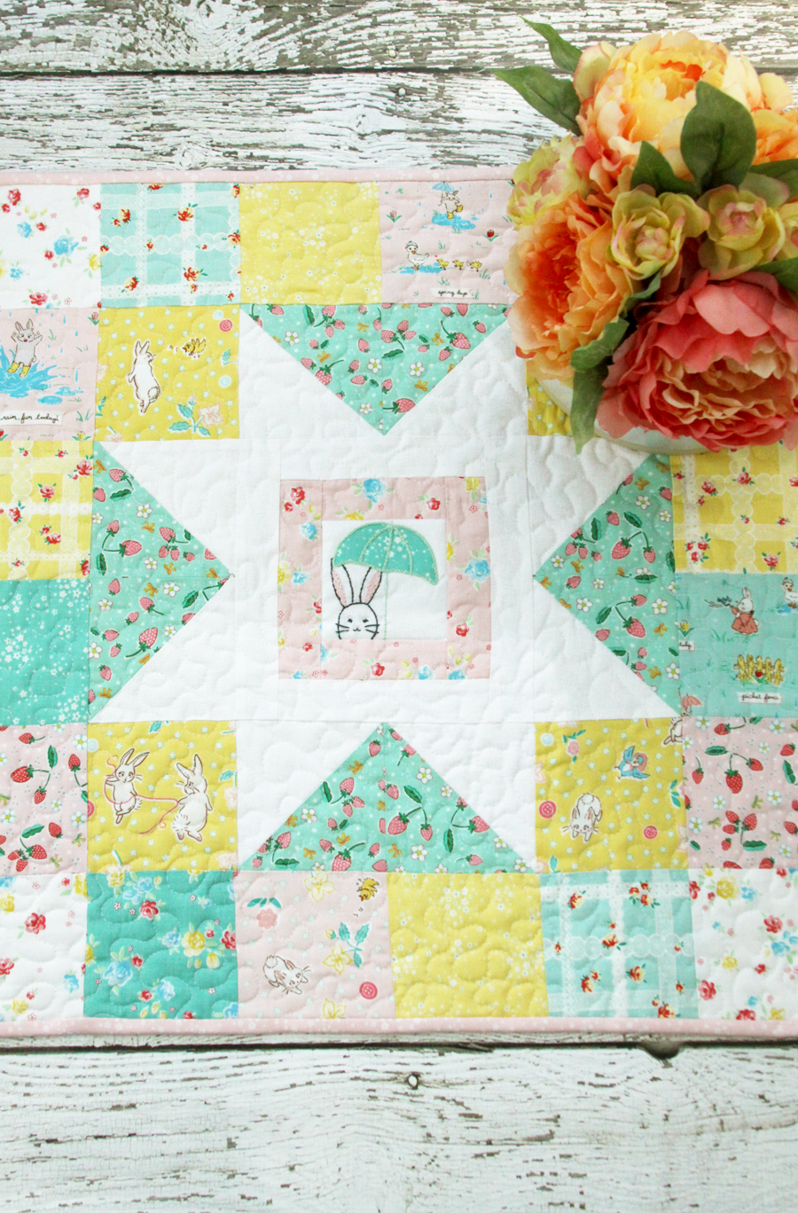 Spring Star Mini Quilt with Bunnies and Blossoms Fabric