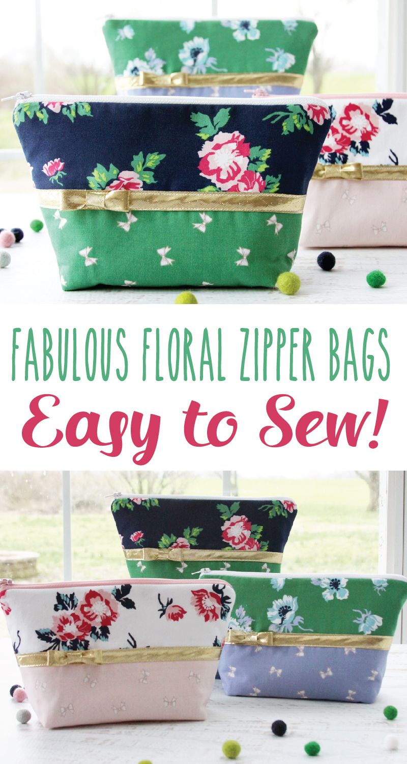 Fabulous Floral Zipper Bags - So Easy to Sew!!