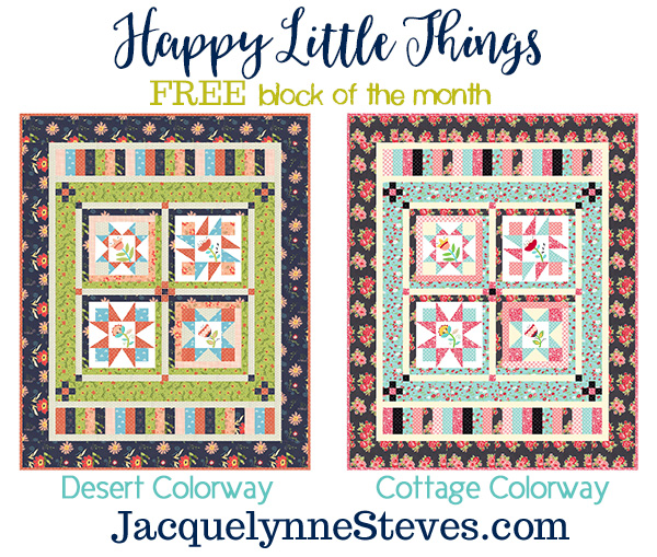 Happy Little Things Quilt Finishing by popular Tennessee quilting blog, Flamingo Toes: graphic image of a Happy Little Things Quilt block of the month.