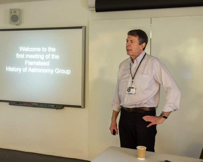 Mike Dryland chairs the first meeting of the Flamsteed History of Astronomy group