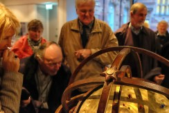 Flamsteed members gather around the Armillary Sphere after the talk