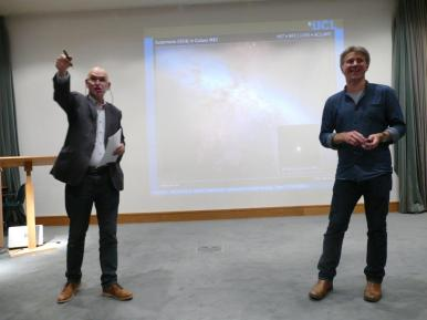 Andy hosting the lecture, with Steve answering questions