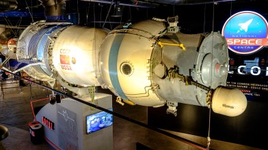 The Soyuz spacecraft by the main entrance to the National Space Centre