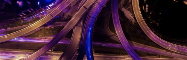 banner image of road network at night