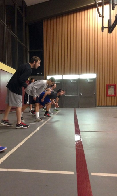 The FUBZ as they prepare on the starting line to take on the HSU Newman in the West gym on Tuesday, March 4.