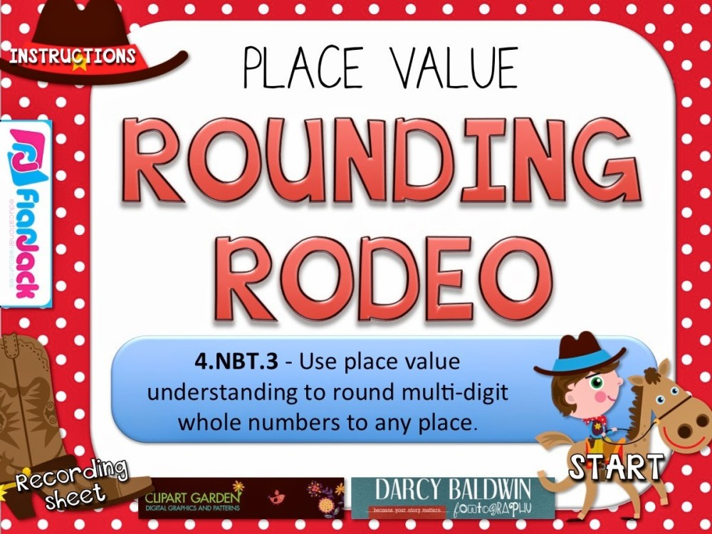 medium resolution of Rounding Rodeo PowerPoint Game Freebie for 4th Grade - FlapJack