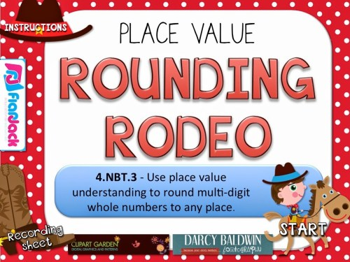 small resolution of Rounding Rodeo PowerPoint Game Freebie for 4th Grade - FlapJack