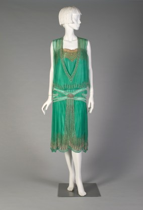 American, ca. 1925-1926. Green silk chiffon, lace, beaded silk satin, pearl and diamond embroidery.