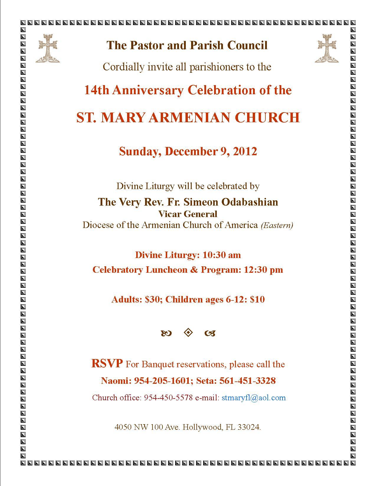 St Mary Armenian Church 14th Anniversary Celebration