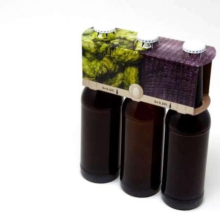 3er Aufsteckträger Motiv Hopfen 0,33 Liter Longneck Flasche