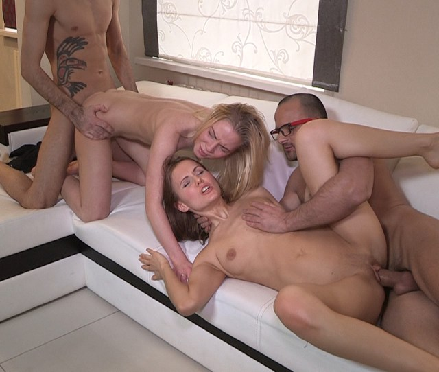 Young Couples Love It In Foursome